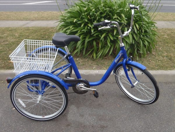 ADULT TRICYCLE 24in ADULT TRIKE 6 SPEED 3 WHEEL BIKE BLUE-0