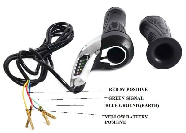 TWIST Throttle Handle with 24VOLT ANALOGUE Display for Electric Bicycle and Electric Scooter-1447